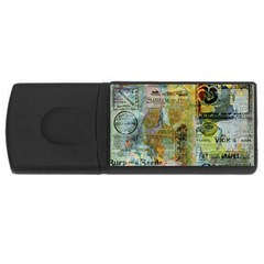 Old Newspaper And Gold Acryl Painting Collage Usb Flash Drive Rectangular (4 Gb) by EDDArt