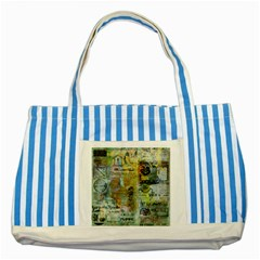 Old Newspaper And Gold Acryl Painting Collage Striped Blue Tote Bag by EDDArt
