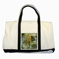 Old Newspaper And Gold Acryl Painting Collage Two Tone Tote Bag by EDDArt