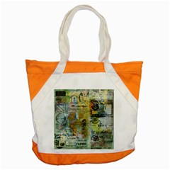 Old Newspaper And Gold Acryl Painting Collage Accent Tote Bag by EDDArt