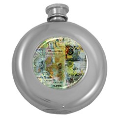Old Newspaper And Gold Acryl Painting Collage Round Hip Flask (5 Oz) by EDDArt