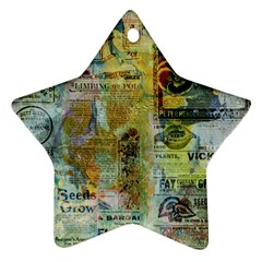 Old Newspaper And Gold Acryl Painting Collage Star Ornament (two Sides) by EDDArt