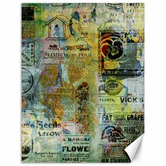 Old Newspaper And Gold Acryl Painting Collage Canvas 12  X 16