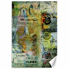 Old Newspaper And Gold Acryl Painting Collage Canvas 12  X 18   by EDDArt
