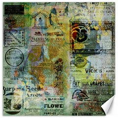 Old Newspaper And Gold Acryl Painting Collage Canvas 20  X 20   by EDDArt