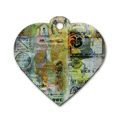 Old Newspaper And Gold Acryl Painting Collage Dog Tag Heart (one Side) by EDDArt