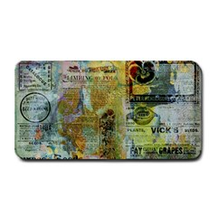 Old Newspaper And Gold Acryl Painting Collage Medium Bar Mats by EDDArt