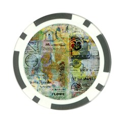 Old Newspaper And Gold Acryl Painting Collage Poker Chip Card Guard by EDDArt