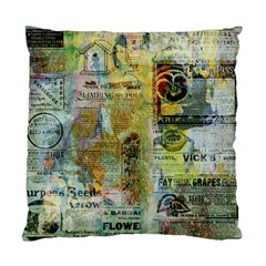 Old Newspaper And Gold Acryl Painting Collage Standard Cushion Case (one Side) by EDDArt