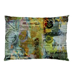 Old Newspaper And Gold Acryl Painting Collage Pillow Case by EDDArt