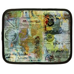 Old Newspaper And Gold Acryl Painting Collage Netbook Case (xxl)  by EDDArt