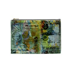 Old Newspaper And Gold Acryl Painting Collage Cosmetic Bag (medium)  by EDDArt