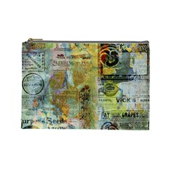 Old Newspaper And Gold Acryl Painting Collage Cosmetic Bag (large)  by EDDArt