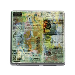 Old Newspaper And Gold Acryl Painting Collage Memory Card Reader (square) by EDDArt