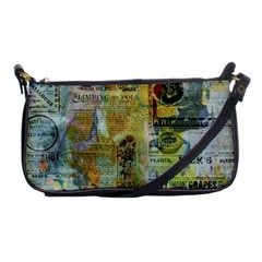 Old Newspaper And Gold Acryl Painting Collage Shoulder Clutch Bags by EDDArt