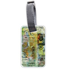 Old Newspaper And Gold Acryl Painting Collage Luggage Tags (one Side)  by EDDArt