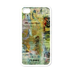 Old Newspaper And Gold Acryl Painting Collage Apple Iphone 4 Case (white) by EDDArt