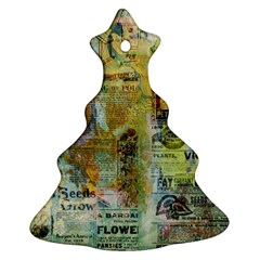 Old Newspaper And Gold Acryl Painting Collage Christmas Tree Ornament (two Sides) by EDDArt