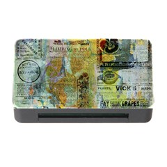 Old Newspaper And Gold Acryl Painting Collage Memory Card Reader With Cf by EDDArt