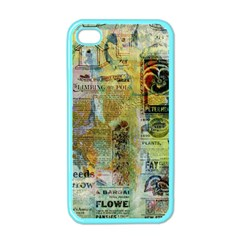Old Newspaper And Gold Acryl Painting Collage Apple Iphone 4 Case (color) by EDDArt