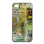 Old Newspaper And Gold Acryl Painting Collage Apple iPhone 4/4s Seamless Case (Black) Front