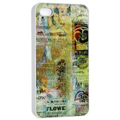 Old Newspaper And Gold Acryl Painting Collage Apple Iphone 4/4s Seamless Case (white) by EDDArt