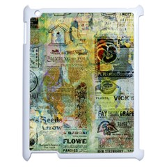 Old Newspaper And Gold Acryl Painting Collage Apple Ipad 2 Case (white) by EDDArt
