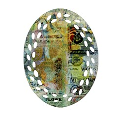Old Newspaper And Gold Acryl Painting Collage Oval Filigree Ornament (two Sides) by EDDArt