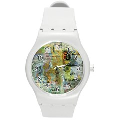 Old Newspaper And Gold Acryl Painting Collage Round Plastic Sport Watch (m) by EDDArt