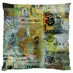 Old Newspaper And Gold Acryl Painting Collage Large Cushion Case (two Sides) by EDDArt