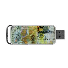 Old Newspaper And Gold Acryl Painting Collage Portable Usb Flash (two Sides) by EDDArt