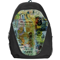 Old Newspaper And Gold Acryl Painting Collage Backpack Bag by EDDArt