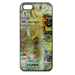 Old Newspaper And Gold Acryl Painting Collage Apple Iphone 5 Seamless Case (black) by EDDArt