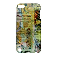 Old Newspaper And Gold Acryl Painting Collage Apple Ipod Touch 5 Hardshell Case by EDDArt