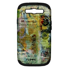 Old Newspaper And Gold Acryl Painting Collage Samsung Galaxy S Iii Hardshell Case (pc+silicone) by EDDArt