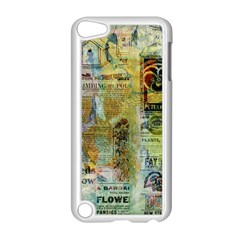 Old Newspaper And Gold Acryl Painting Collage Apple Ipod Touch 5 Case (white) by EDDArt