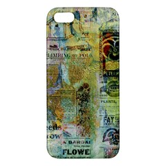 Old Newspaper And Gold Acryl Painting Collage Apple Iphone 5 Premium Hardshell Case by EDDArt