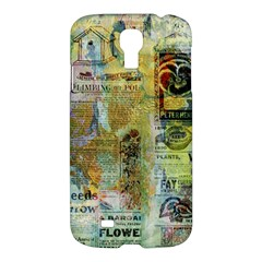 Old Newspaper And Gold Acryl Painting Collage Samsung Galaxy S4 I9500/i9505 Hardshell Case by EDDArt