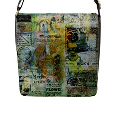 Old Newspaper And Gold Acryl Painting Collage Flap Messenger Bag (l)  by EDDArt