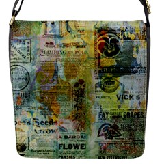 Old Newspaper And Gold Acryl Painting Collage Flap Messenger Bag (s) by EDDArt