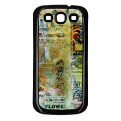 Old Newspaper And Gold Acryl Painting Collage Samsung Galaxy S3 Back Case (black) by EDDArt