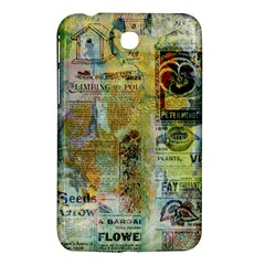 Old Newspaper And Gold Acryl Painting Collage Samsung Galaxy Tab 3 (7 ) P3200 Hardshell Case  by EDDArt