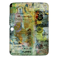 Old Newspaper And Gold Acryl Painting Collage Samsung Galaxy Tab 3 (10 1 ) P5200 Hardshell Case  by EDDArt