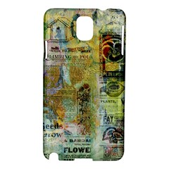 Old Newspaper And Gold Acryl Painting Collage Samsung Galaxy Note 3 N9005 Hardshell Case by EDDArt