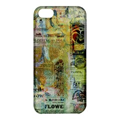 Old Newspaper And Gold Acryl Painting Collage Apple Iphone 5c Hardshell Case by EDDArt