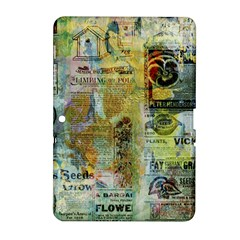 Old Newspaper And Gold Acryl Painting Collage Samsung Galaxy Tab 2 (10 1 ) P5100 Hardshell Case  by EDDArt