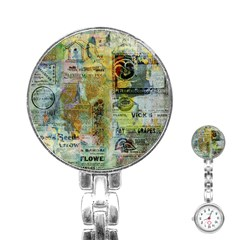 Old Newspaper And Gold Acryl Painting Collage Stainless Steel Nurses Watch by EDDArt