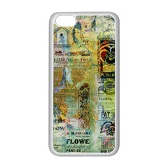 Old Newspaper And Gold Acryl Painting Collage Apple Iphone 5c Seamless Case (white) by EDDArt