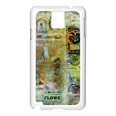 Old Newspaper And Gold Acryl Painting Collage Samsung Galaxy Note 3 N9005 Case (white) by EDDArt