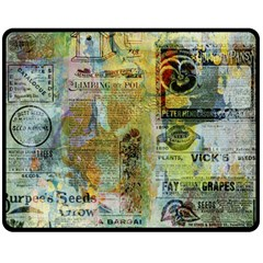 Old Newspaper And Gold Acryl Painting Collage Double Sided Fleece Blanket (medium)  by EDDArt
